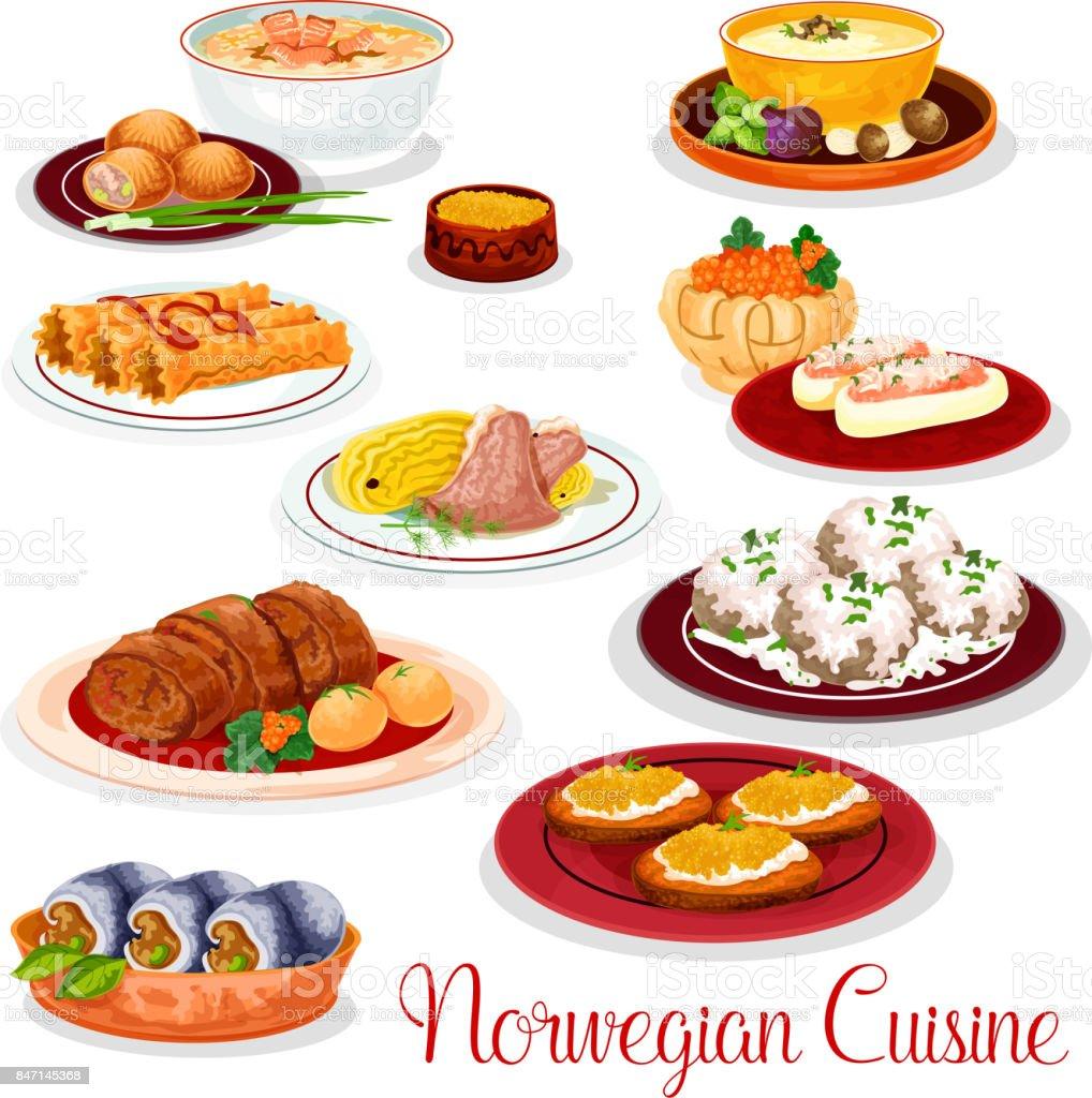 Ensemble De Plats Nationaux Cuisine Norvégienne Cliparts - Cuisine norvegienne