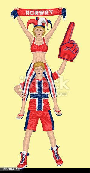 istock Norwegian Fans Supporting Norway Team with Scarf and Foam Finger 940400264
