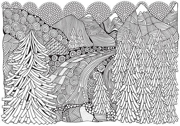 illustrazioni stock, clip art, cartoni animati e icone di tendenza di norwegian fjords. black and white abstract fantasy picture. - fiordi
