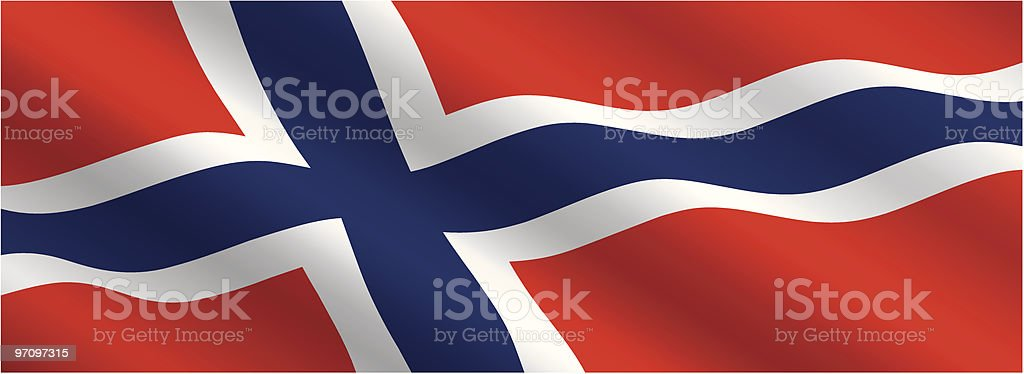 Norwegian Flag Flying in the Wind royalty-free norwegian flag flying in the wind stock vector art & more images of blue