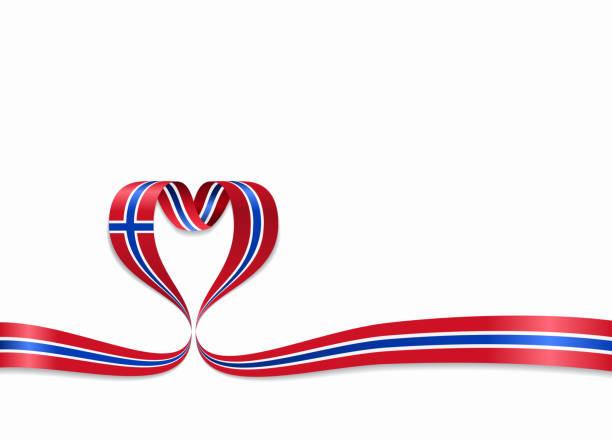 stockillustraties, clipart, cartoons en iconen met noorse vlag hartvormige lint. vectorillustratie. - noorse vlag