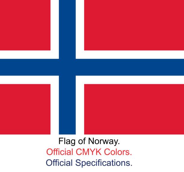 stockillustraties, clipart, cartoons en iconen met noorse vlag (officiële cmyk kleuren, officiële specificaties) - noorse vlag