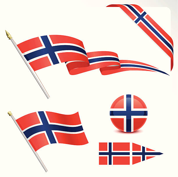 stockillustraties, clipart, cartoons en iconen met norwegian flag - noorse vlag
