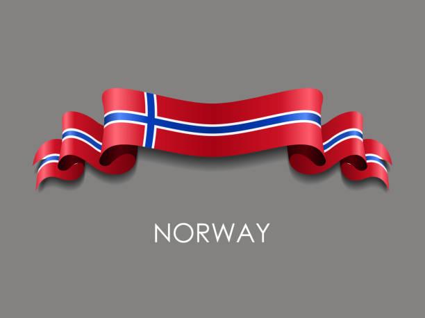 stockillustraties, clipart, cartoons en iconen met noorse vlag golvende lintachtergrond. vectorillustratie. - noorse vlag