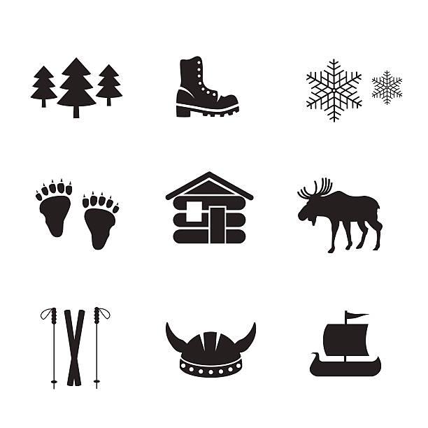 illustrazioni stock, clip art, cartoni animati e icone di tendenza di norvegese icona set. - fiordi