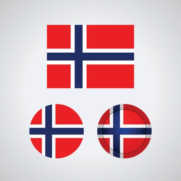 stockillustraties, clipart, cartoons en iconen met noorse trio vlaggen, vectorillustratie - noorse vlag