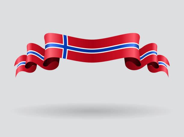 stockillustraties, clipart, cartoons en iconen met norwegian wavy flag. vector illustration. - noorse vlag