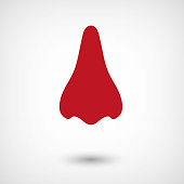 Nose - red vector  icon with shadow