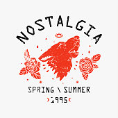 Nostalgia spring summer 1995 slogan. Rose with wolf head.Rock and roll patch. Typography graphic print, fashion drawing for t-shirts .Vector stickers,print, patches vintage