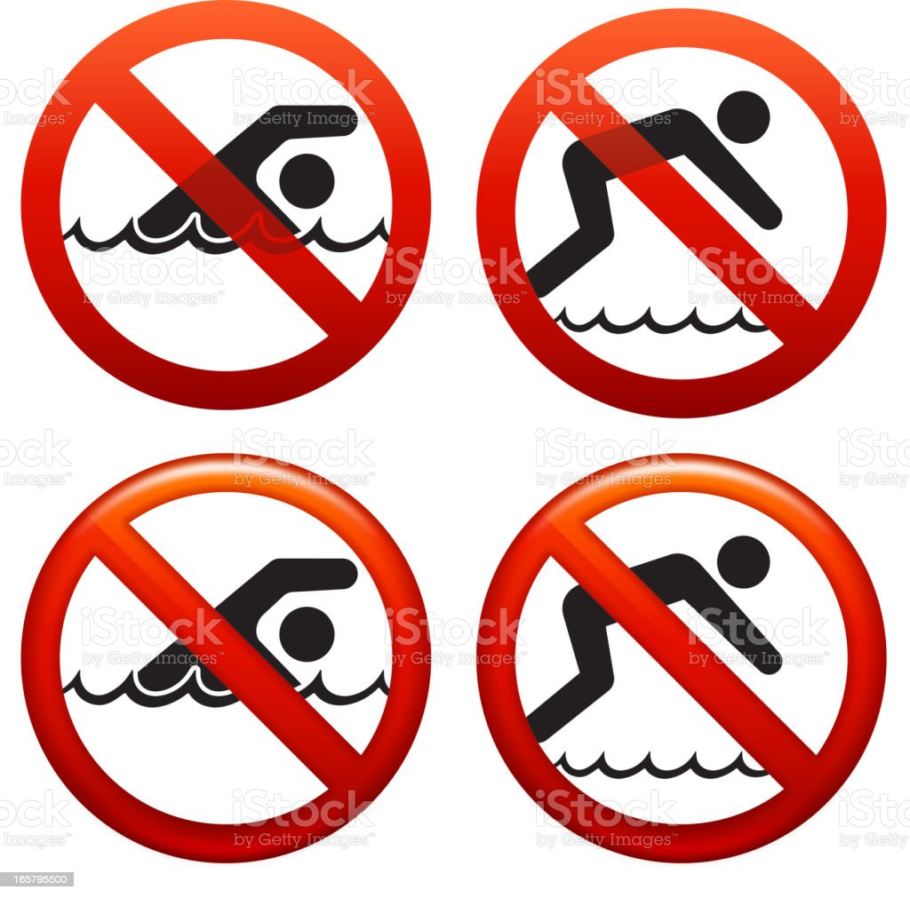 Not Allowed Pool Signs Stock Illustration - Download Image Now
