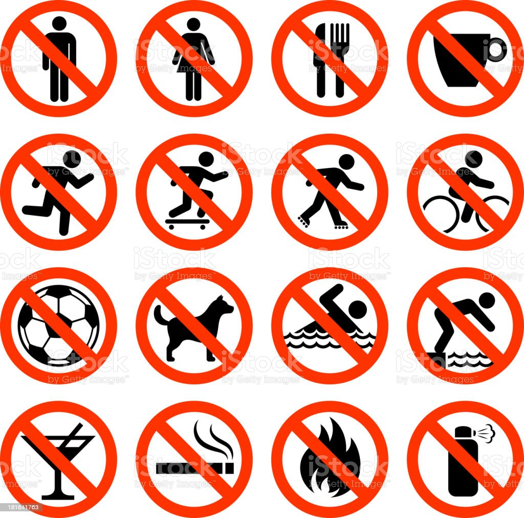 Not Allowed Sign Collection royalty-free stock vector art