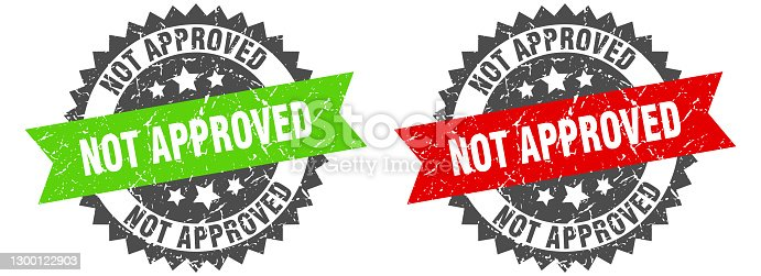 istock not approved band sign. not approved grunge stamp set 1300122903