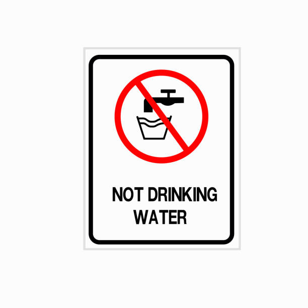 Not drinkable water, prohibition sign. Do not drink water sign, vector illustration. vector art illustration