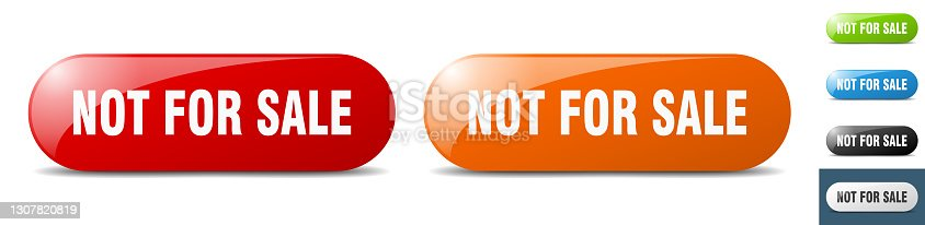 istock not for sale button. key. sign. push button set 1307820819