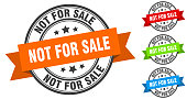 istock not for sale stamp. round band sign set. label 1287073992