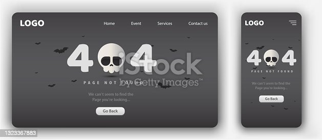 istock 404 Not found website templates with mobile responsive skull style 404 1323367883