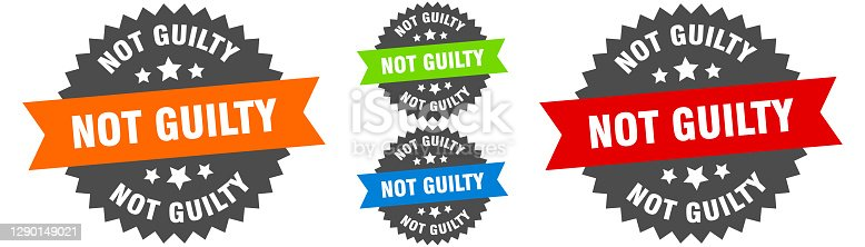 istock not guilty sign. round ribbon label set. Seal 1290149021