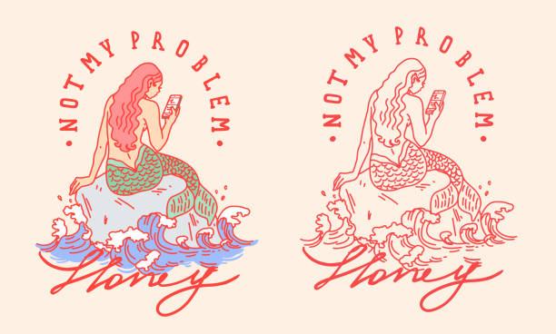 ilustraciones, imágenes clip art, dibujos animados e iconos de stock de no es mi eslogan problema con la sirena con la ilustración del teléfono - tatuajes de sirenas