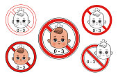 istock Not suitable for children from 0-3 year icons set. Little boy face with caution sign. Warning danger for kids swallow small toy parts. Choking hazard. Not safety for baby under three. Vector 1308120968