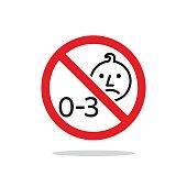 Not Suitable For Children Under 3 Years Sign vector design