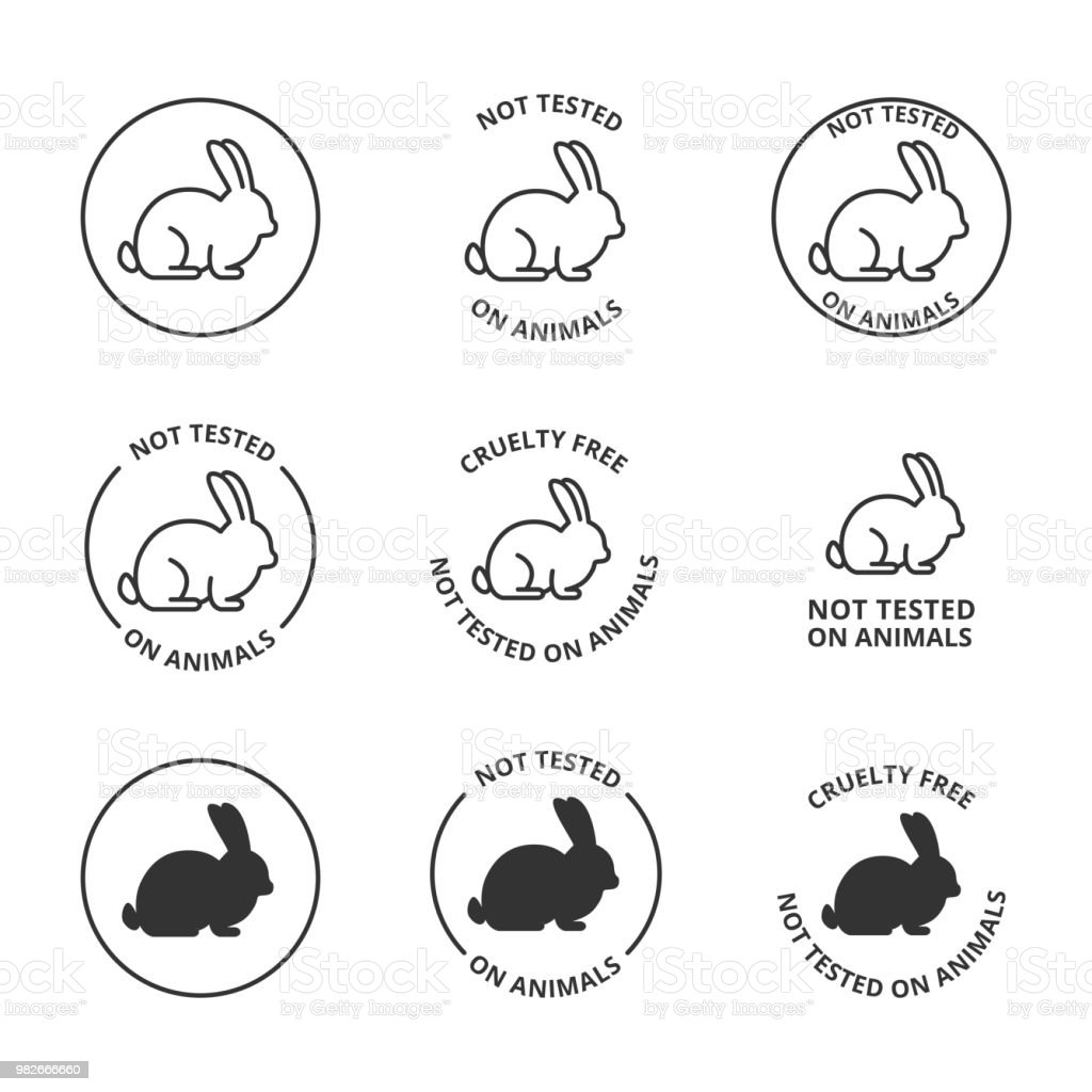 Not tested on animals, cruelty free icons vector art illustration