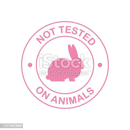 istock Not tested on animals. Cruelty free Pink banner. Vegan emblem. Packaging design. Natural product. Vector stock illustration. 1221852665