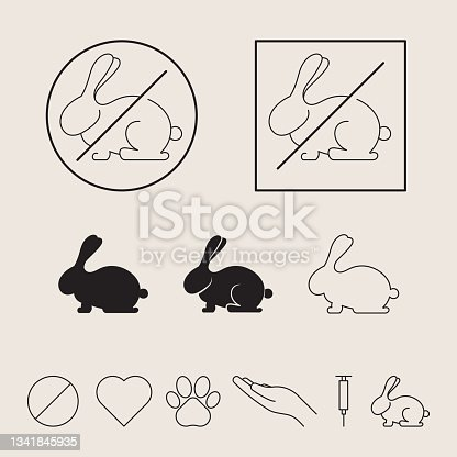 istock Not tested on animals, icon set. Vector illustration with rabbit 1341845935