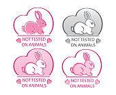 istock Not tested on animals vector icon set. Hand drawn rabbit sign. Cruelty free, natural cosmetic products. 1270105557