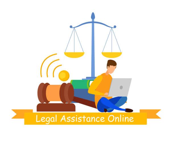 notar online-service web banner vector vorlage - rechtsassistent stock-grafiken, -clipart, -cartoons und -symbole