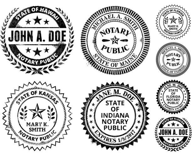 illustrations, cliparts, dessins animés et icônes de notaire public seal ensemble: hawaï, dans le maryland - notaire