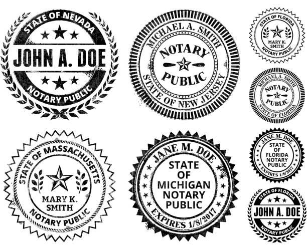 illustrations, cliparts, dessins animés et icônes de notaire public seal ensemble: massachusetts, dans le new jersey - notaire