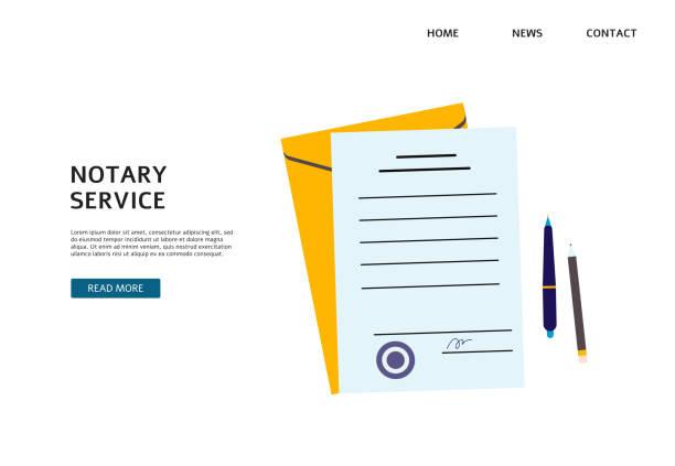 illustrations, cliparts, dessins animés et icônes de bannière de service de notaire avec des documents en papier et le stylo avec le timbre. - notaire