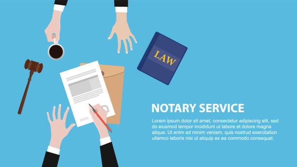 illustrations, cliparts, dessins animés et icônes de bannière de concept de service de notaire avec l'équipe juridique discuter et signer le document papier - notaire