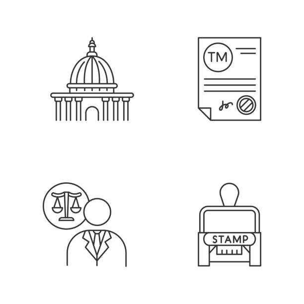 Notary services pixel perfect linear icons set. Trademark certificate. Supreme court. Lawyer. Stamp. Customizable thin line contour symbols. Isolated vector outline illustrations. Editable stroke Notary services pixel perfect linear icons set. Trademark certificate. Supreme court. Lawyer. Stamp. Customizable thin line contour symbols. Isolated vector outline illustrations. Editable stroke supreme court stock illustrations