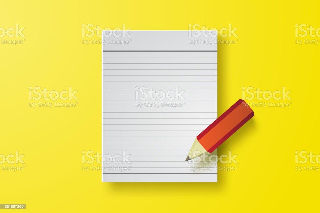 Ilustración de Nota Del Libro Papel Con Lápiz Sobre Fondo Amarillo ...