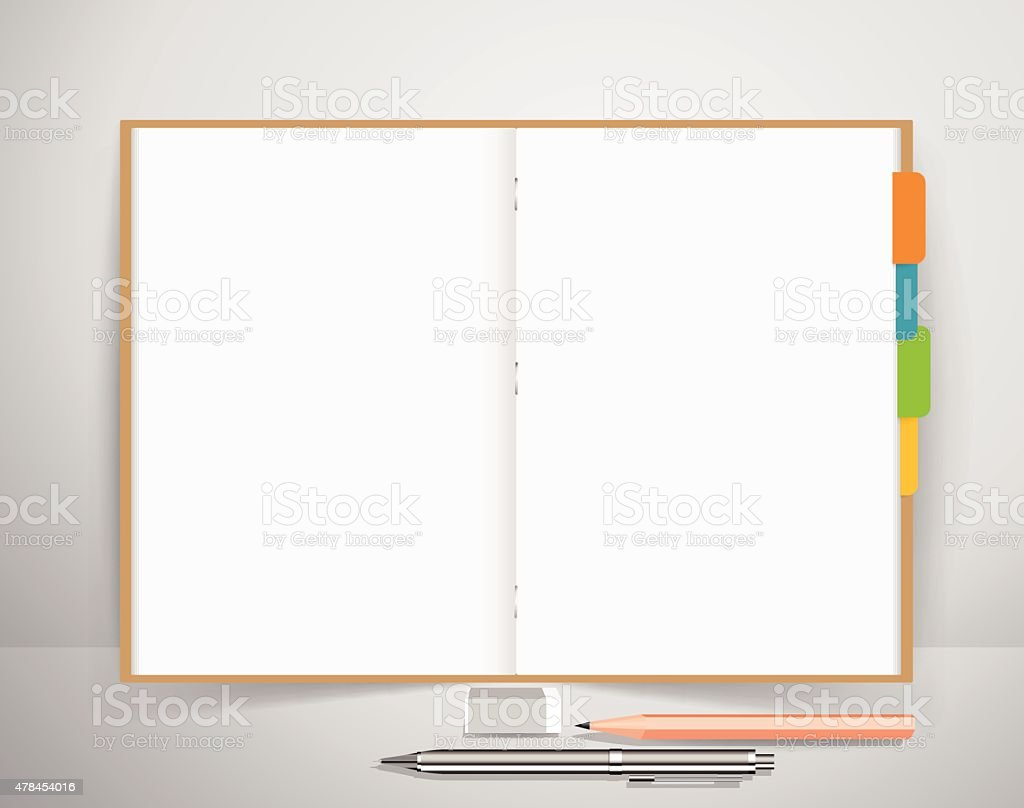 Note book with pen and pencil, Business working elements vector art illustration