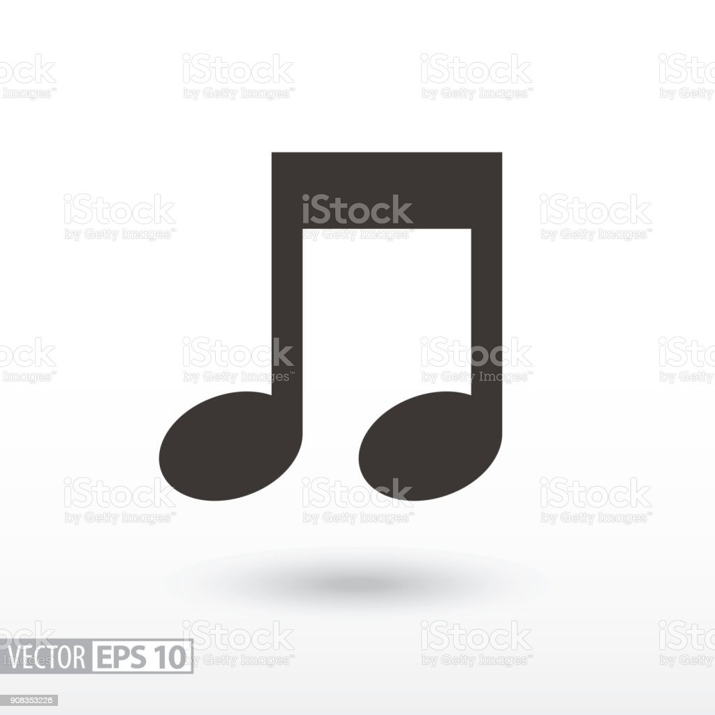 Note flat Icon. Sign music vector art illustration