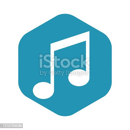 Note icon. Media symbol. Music. Vector illustration for design and web isolated on white background.