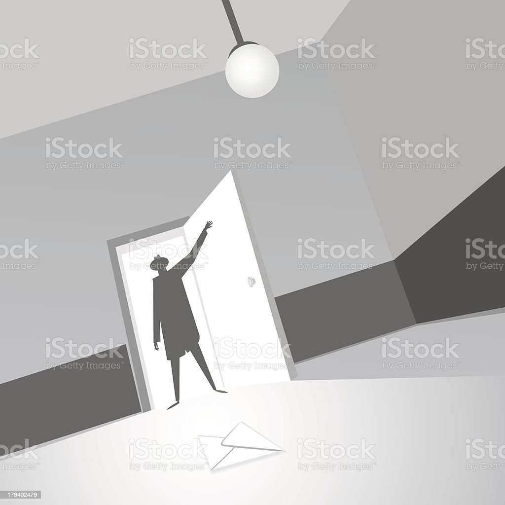 Note in the room royalty-free stock vector art