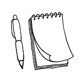 Note pad and pen icons. Outlined