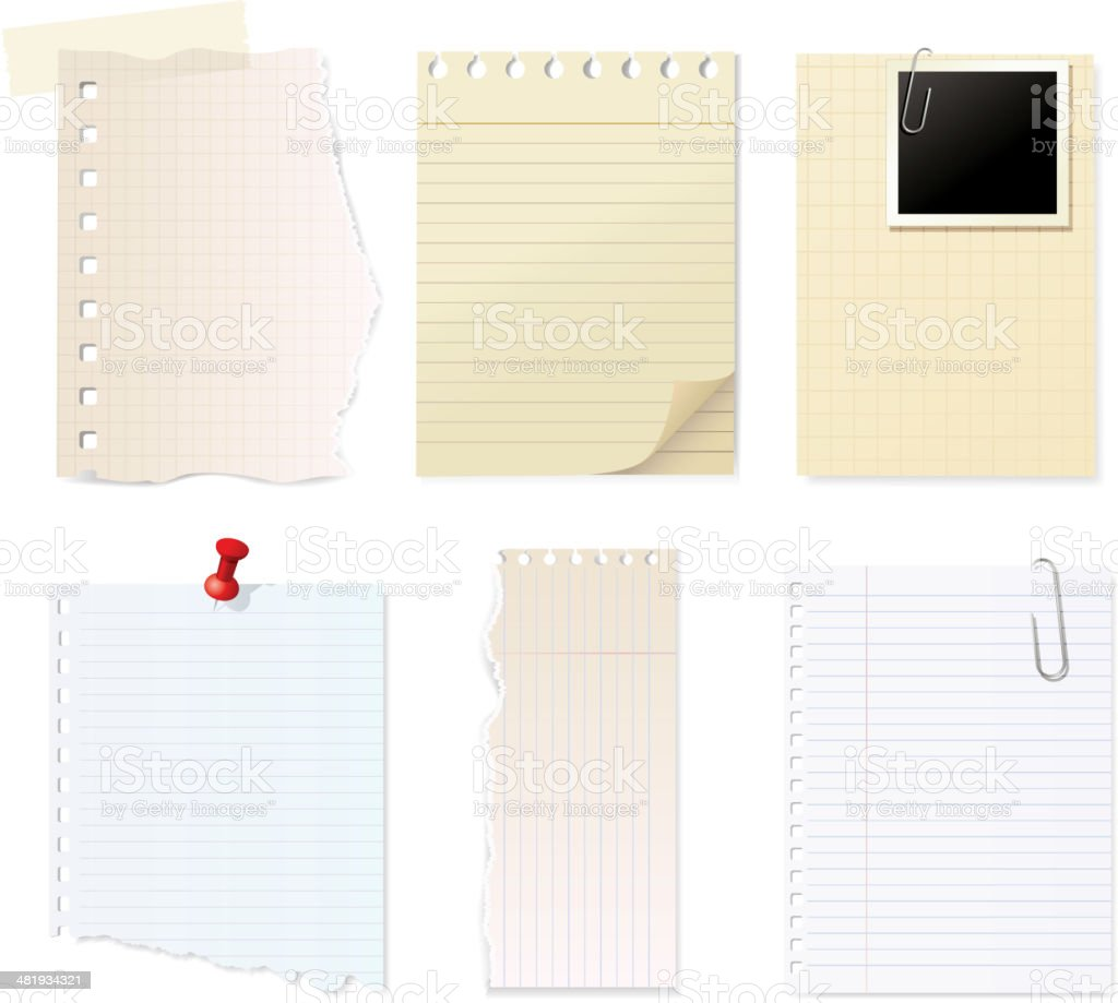 Note pad collection vector art illustration