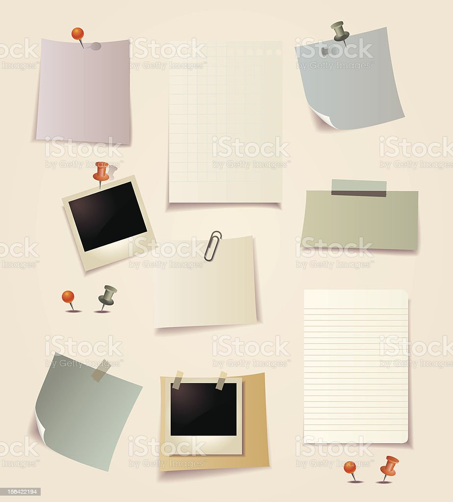 Note pad papers and photo royalty-free stock vector art