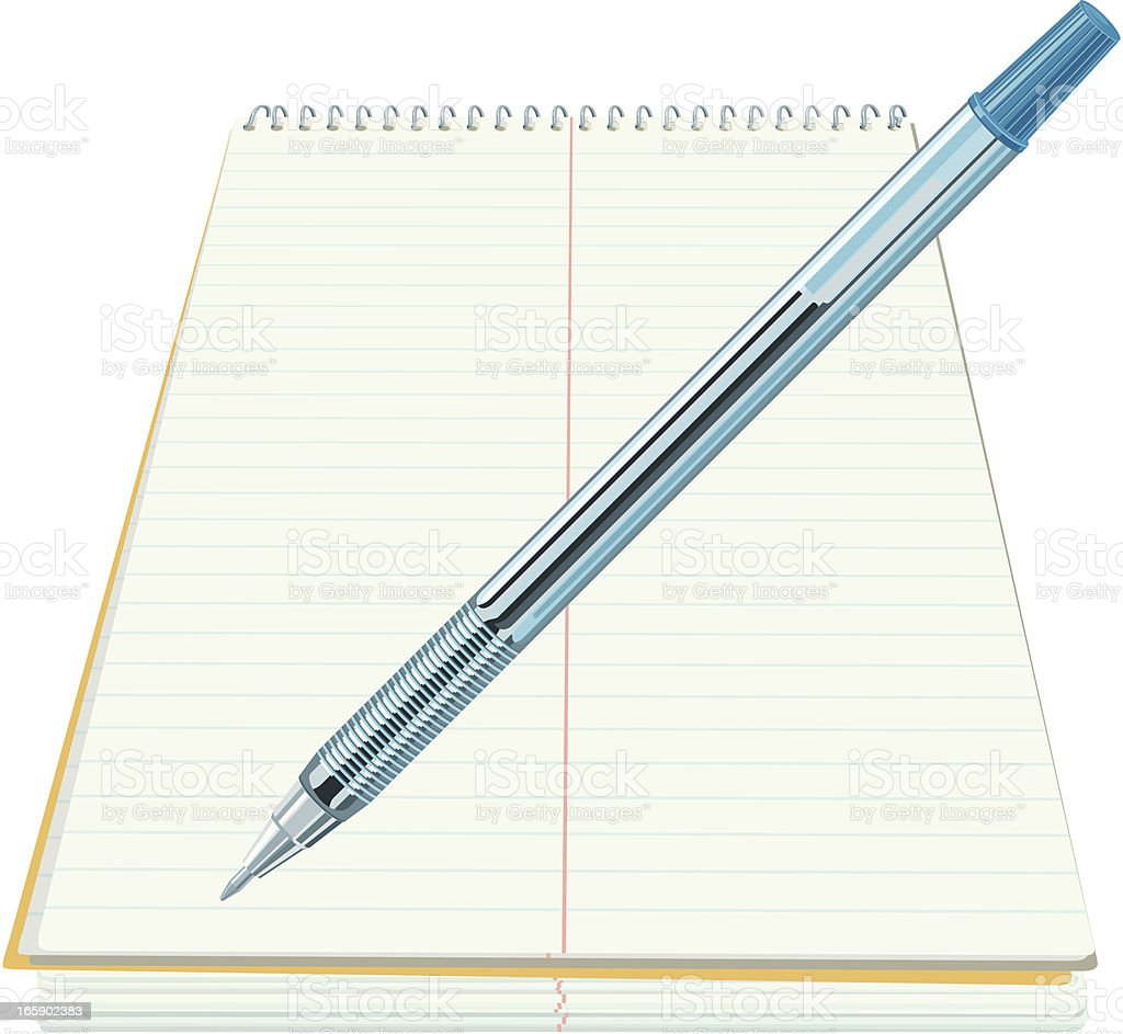Note Pad with Pen royalty-free stock vector art