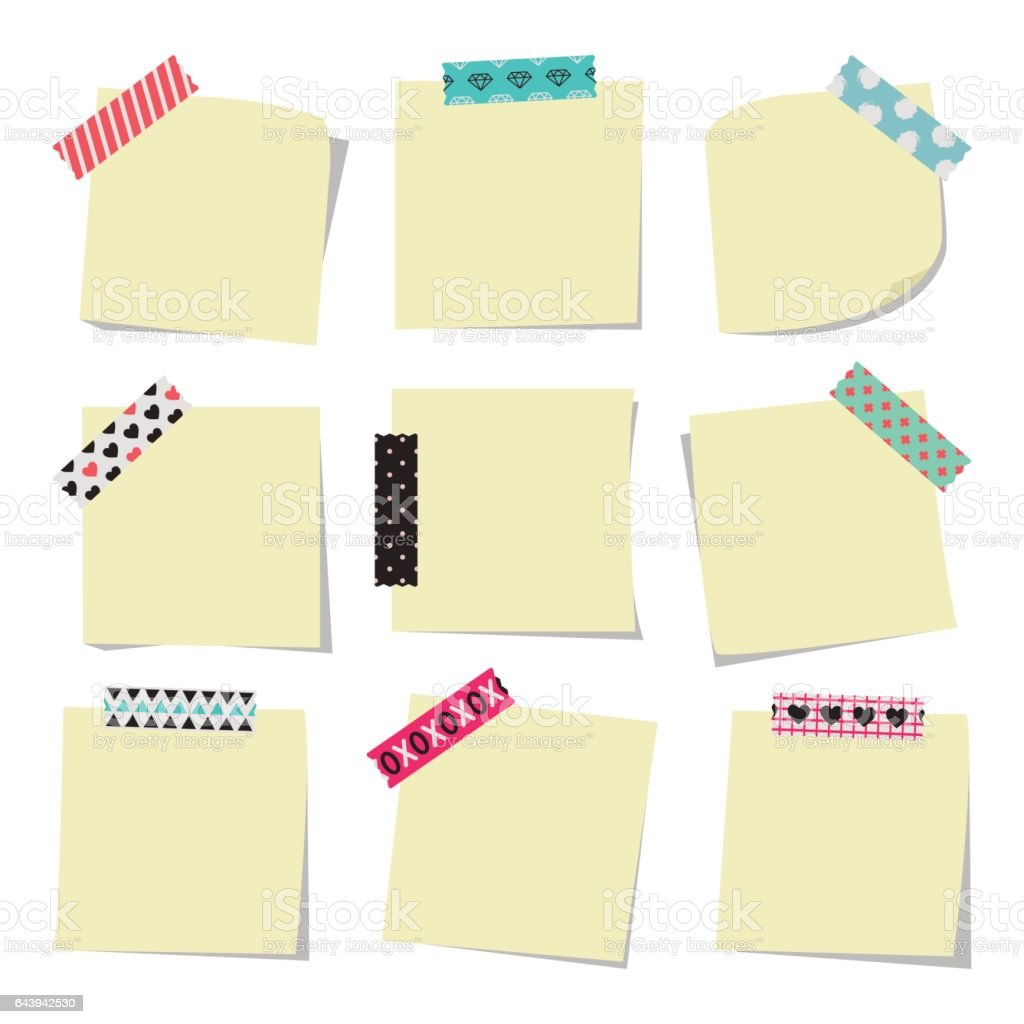 Note Pad With Sticky Tape Collection vector art illustration