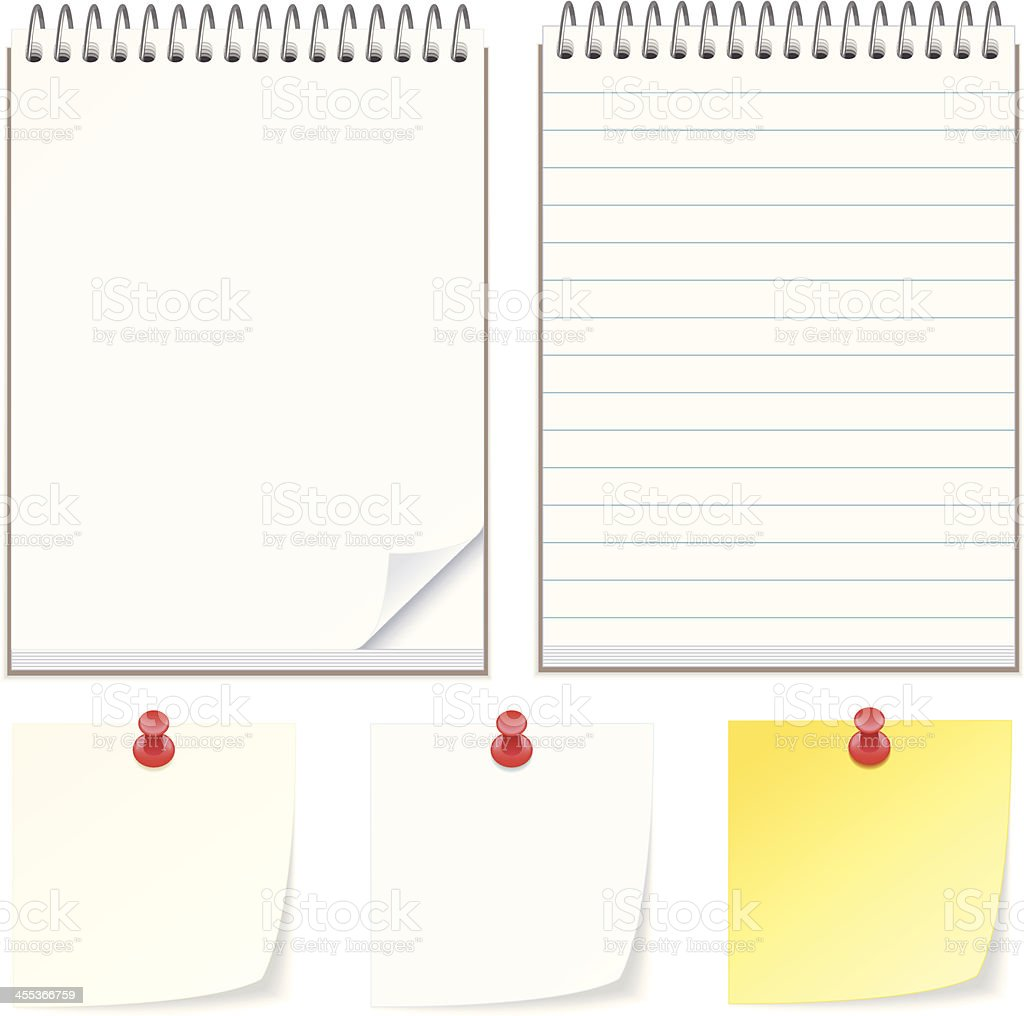 Note pads and papers vector art illustration