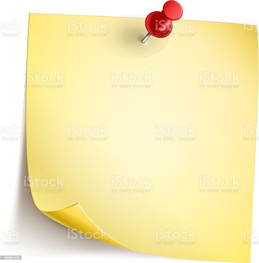 Note paper pinned to a white surface royalty-free stock vector art
