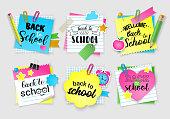 Note paper set for back to school. Vector illustration