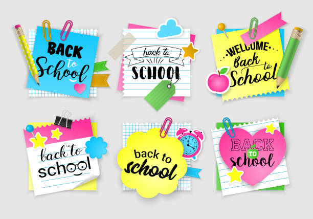 note paper set for back to school. - back to school stock illustrations