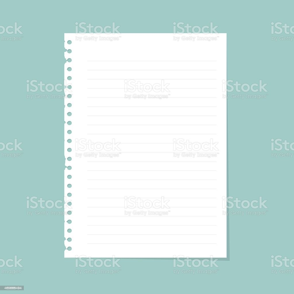 Note paper with line vector art illustration