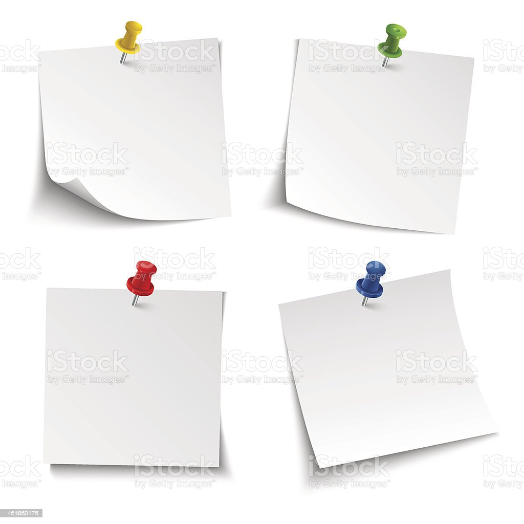 Note paper with push colored pin vector art illustration